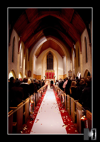 This candlelit church was a really romantic venue for the evening ceremony